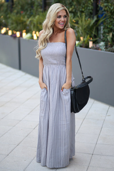 ELAN Santorini Maxi Dress - Grey strapless maxi dress with strappy back detail, outfit, Closet Candy Boutique