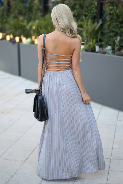 ELAN Santorini Maxi Dress - Grey strapless maxi dress with strappy back detail, back, Closet Candy Boutique
