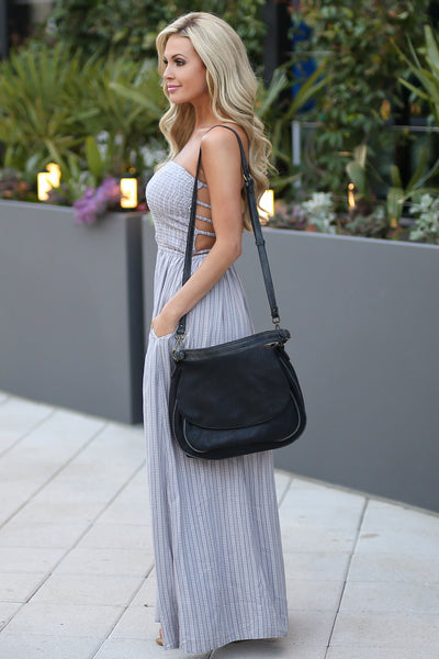 ELAN Santorini Maxi Dress - Grey strapless maxi dress with strappy back detail, side, Closet Candy Boutique