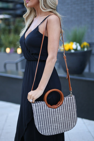 Swept Away Purse - Black/Ivory stripe purse with removable satchel, front, Closet Candy Boutique