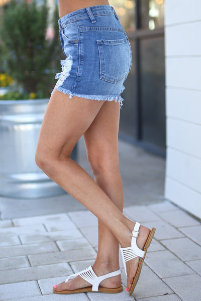 Kan Can Summer Heat Shorts - Medium Wash distressed denim shorts, side, Closet Candy Boutique