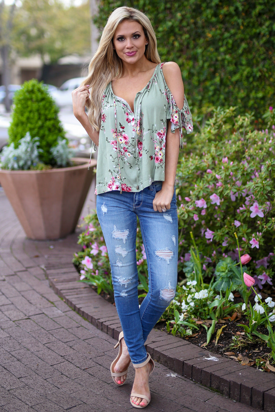 LOVE STITCH Lifetime of Love Top - Mint floral print cold shoulder top, front, Closet Candy Boutique
