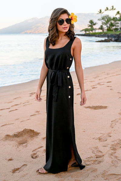 CCB Mornings at Wailea Maxi Dress - Black womens classic black long dress with buttons closet candy side 2