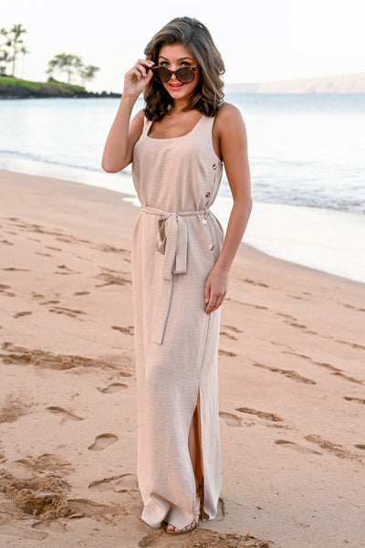 CCB Mornings at Wailea Maxi Dress - Natural womens self tie button detail long dress closet candy side 3