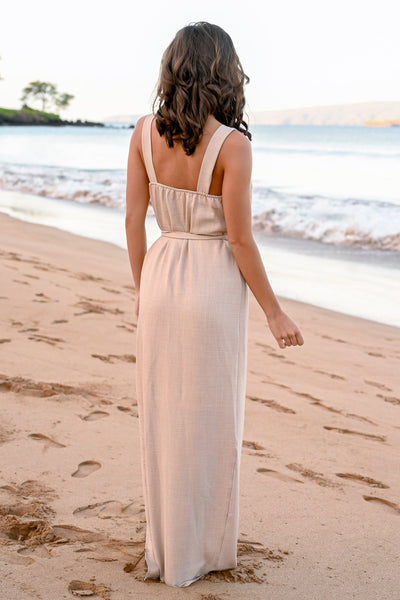 CCB Mornings at Wailea Maxi Dress - Natural womens self tie button detail long dress closet candy back
