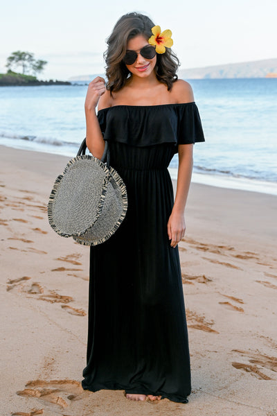 CCB Sunset Over The Sand Maxi Dress - Black womens off the shoulder maxi dress closet candy front 3; Model: Hannah Sluss