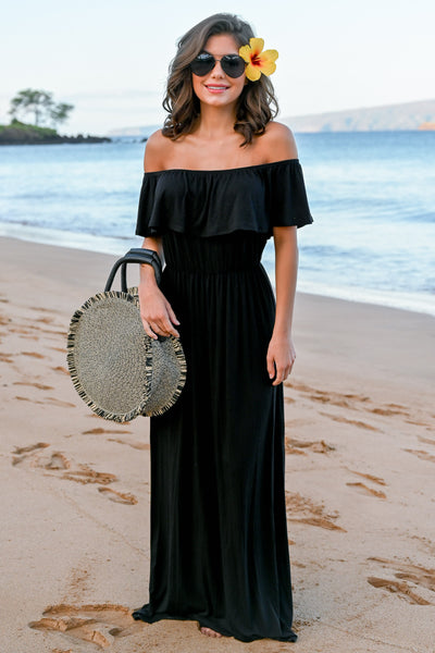 CCB Sunset Over The Sand Maxi Dress - Black womens off the shoulder maxi dress closet candy front 4; Model: Hannah Sluss