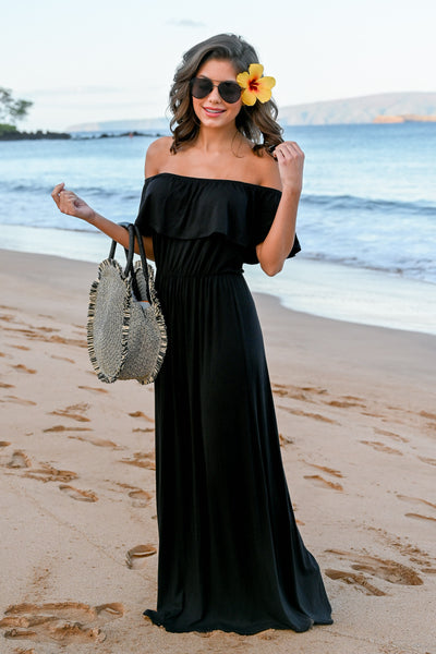 CCB Sunset Over The Sand Maxi Dress - Black womens off the shoulder maxi dress closet candy front 5; Model: Hannah Sluss