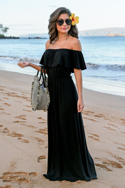 CCB Sunset Over The Sand Maxi Dress - Black womens off the shoulder maxi dress closet candy front 1; Model: Hannah Sluss