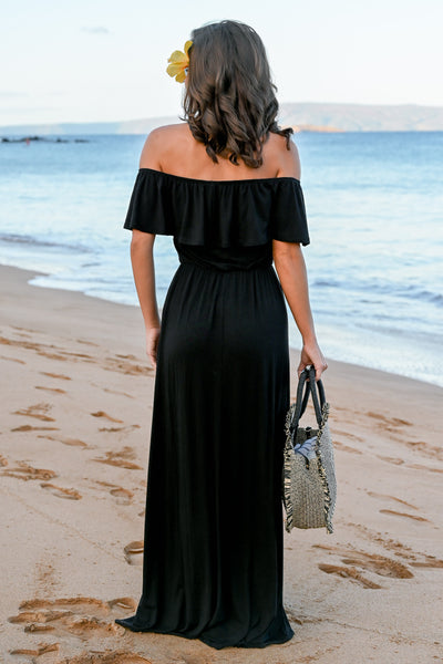CCB Sunset Over The Sand Maxi Dress - Black womens off the shoulder maxi dress closet candy back; Model: Hannah Sluss