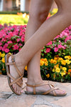 Nadia Strappy Sandals - Tan womens flat slip on trendy sandals closet candy side