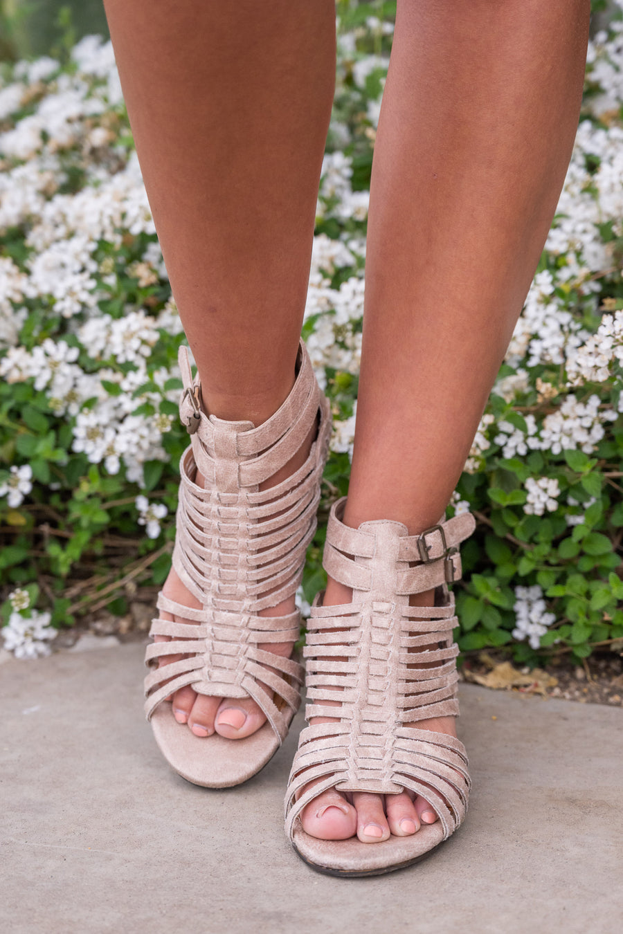 Teagan Heeled Sandals - cream strappy heeled sandals, Closet Candy Boutique 1