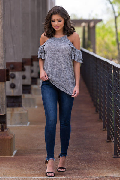 Create Your Sunshine Top - Heather Grey womens cold shoulder top with ruffle sleeves closet candy front