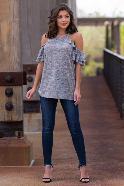 Create Your Sunshine Top - Heather Grey womens cold shoulder top with ruffle sleeves closet candy front 3