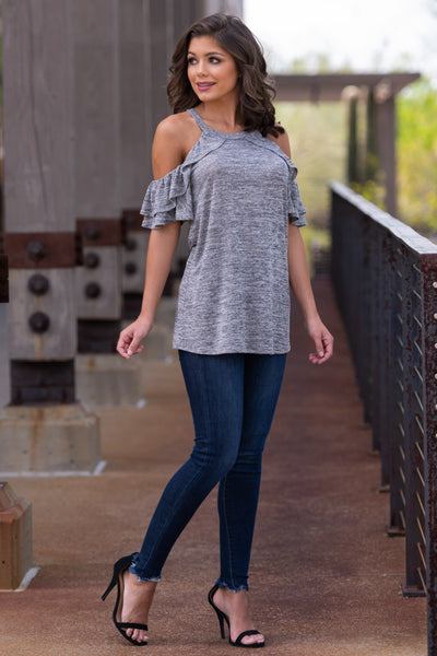 Create Your Sunshine Top - Heather Grey womens cold shoulder top with ruffle sleeves closet candy front 2
