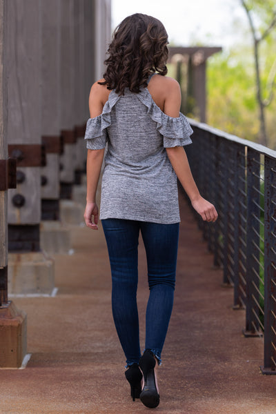 Create Your Sunshine Top - Heather Grey womens cold shoulder top with ruffle sleeves closet candy back