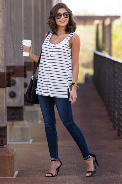 Picnic Approved Striped Tank Top - White womens casual sleeveless black and white top side