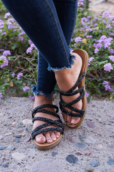 Lana Strappy Sandals - Black women's crystalized slip-on sandals, Closet Candy Boutique 3