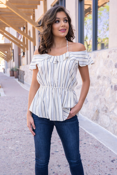 Left On Read Striped Top - Ivory off the shoulder ruffled top, Closet Candy Boutique 3