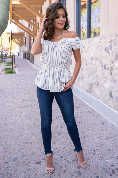 Left On Read Striped Top - Ivory off the shoulder ruffled top, Closet Candy Boutique 1
