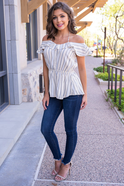 Left On Read Striped Top - Ivory off the shoulder ruffled top, Closet Candy Boutique 2
