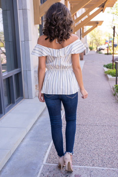 Left On Read Striped Top - Ivory off the shoulder ruffled top, Closet Candy Boutique 4