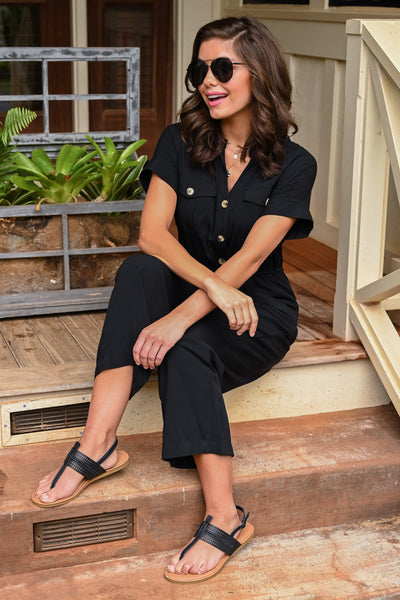 Dinner For Two Jumpsuit - Black women's button-up wide leg jumpsuit, Closet Candy Boutique 3