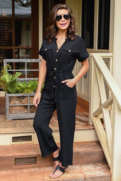 Dinner For Two Jumpsuit - Black women's button-up wide leg jumpsuit, Closet Candy Boutique 4