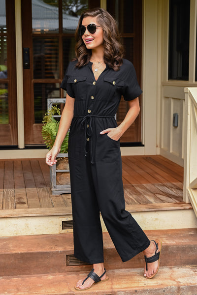Dinner For Two Jumpsuit - Black women's button-up wide leg jumpsuit, Closet Candy Boutique 2