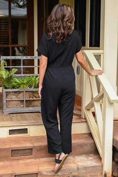 Dinner For Two Jumpsuit - Black women's button-up wide leg jumpsuit, Closet Candy Boutique 5
