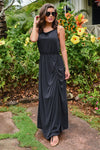Found At Last Maxi Dress - Black womens long floor length dress with ruching closet candy front2