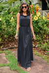 Found At Last Maxi Dress - Black womens long floor length dress with ruching closet candy front3