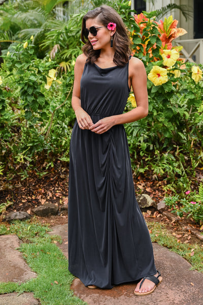 Found At Last Maxi Dress - Black womens long floor length dress with ruching closet candy front