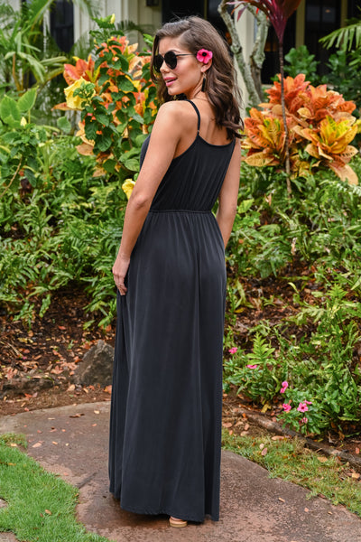 Found At Last Maxi Dress - Black womens long floor length dress with ruching closet candy back