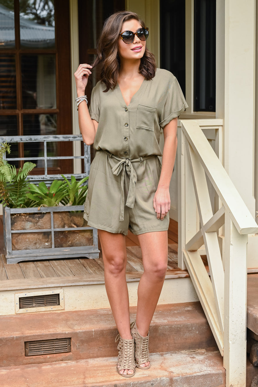 Is It Friday Yet Romper - Olive women's button-up romper, Closet Candy Boutique 1
