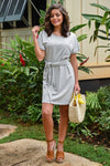 What You're Looking For T-Shirt Dress - Grey women's striped, tie belt open back dress, Closet Candy Boutique 1