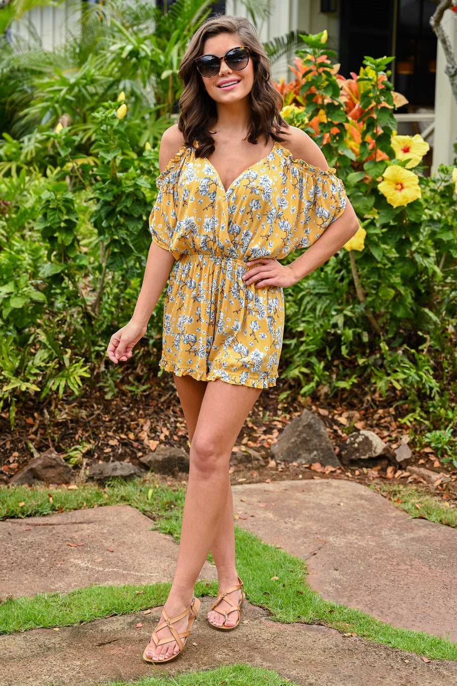 The Garden Island Romper - Sunshine women's off the shoulder flowy romper, Closet Candy Boutique 1