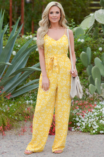 EVERLY No One But You Jumpsuit - Mustard floral print jumpsuit, outfit, Closet Candy Boutique