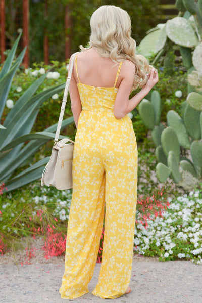 EVERLY No One But You Jumpsuit - Mustard floral print jumpsuit, back, Closet Candy Boutique