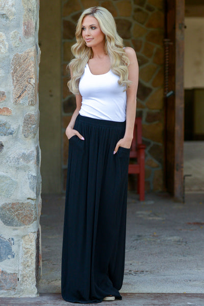 Always On My Mind Maxi Skirt - Black maxi skirt with pockets, front, Closet Candy Boutique