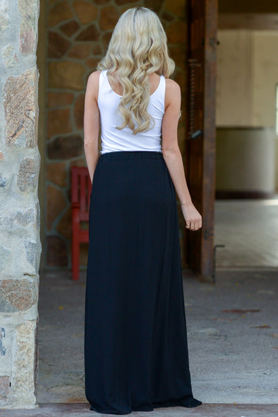 Always On My Mind Maxi Skirt - Black maxi skirt with pockets, back, Closet Candy Boutique