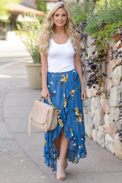 Western Sunset Wrap Skirt - Royal Blue floral wrap maxi skirt, outfit, Closet Candy Boutique