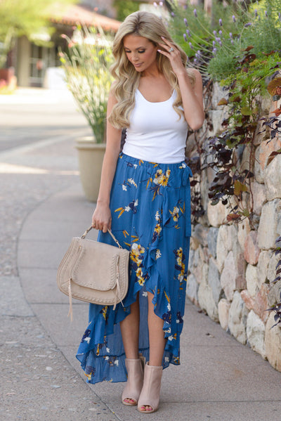 Western Sunset Wrap Skirt - Royal Blue floral wrap maxi skirt, front, Closet Candy Boutique