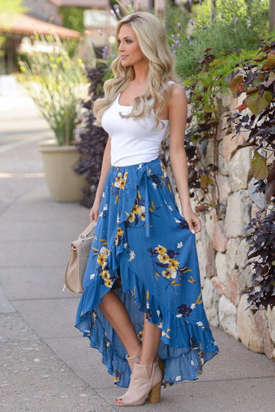 Western Sunset Wrap Skirt - Royal Blue floral wrap maxi skirt, side, Closet Candy Boutique