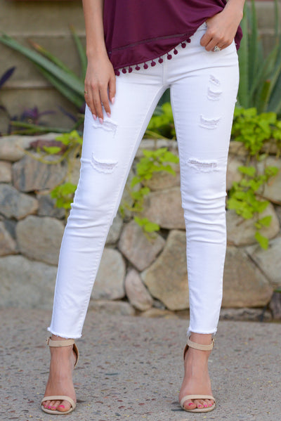 So Fresh Distressed Skinny Jeans - White distressed skinny jeans, front, Closet Candy Boutique