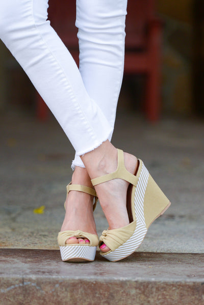Take Me Away Canvas Wedges - Taupe peep toe wedges, front, Closet Candy Boutique