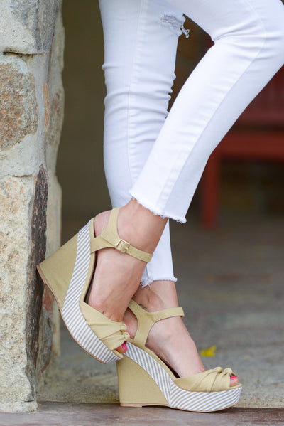 Take Me Away Canvas Wedges - Taupe peep toe wedges, side, Closet Candy Boutique