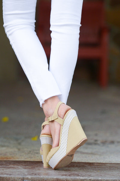 Take Me Away Canvas Wedges - Taupe peep toe wedges, back, Closet Candy Boutique