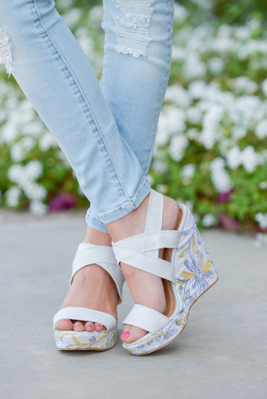 Cassia Floral Wedges - Ivory strappy wedges with floral heel, side, Closet Candy Boutique