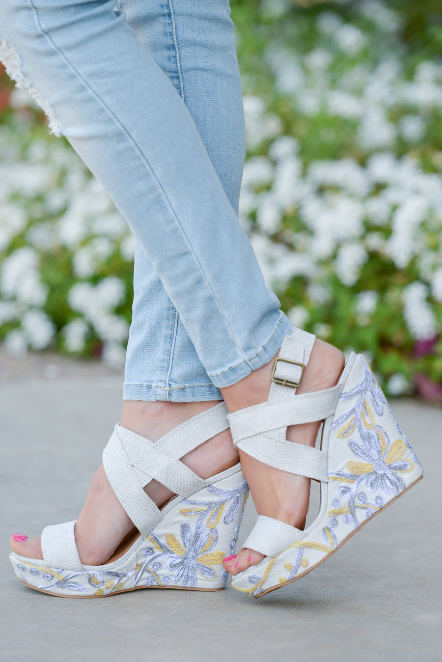 0cb0ca5483fd Cassia Floral Wedges - Ivory strappy wedges with floral heel